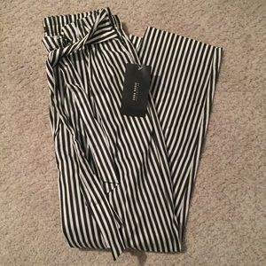 Zara Basic Striped Crop Trouser New With Tags!